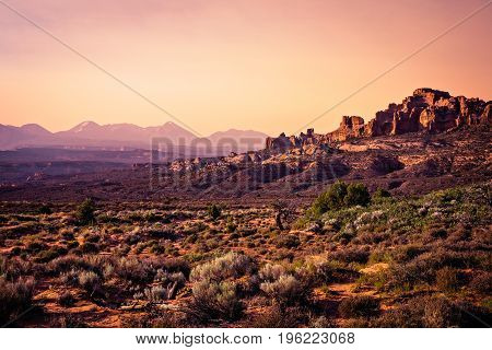 Sunset from Panorama Point in Arches National Park Moab Utah.