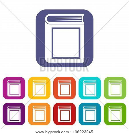 Thick book icons set vector illustration in flat style in colors red, blue, green, and other