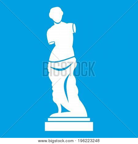 Ancient statue icon white isolated on blue background vector illustration