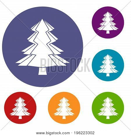 Fir tree icons set in flat circle red, blue and green color for web