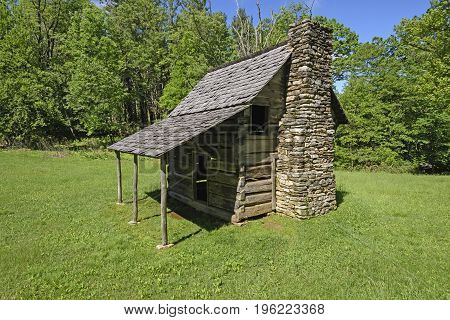 Old Cabin in the Mountains along the Blue Ridge Parkway in North Carolina
