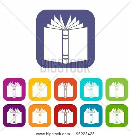Open thick book icons set vector illustration in flat style in colors red, blue, green, and other
