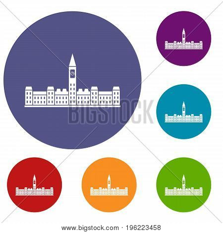 Parliament Building of Canada icons set in flat circle red, blue and green color for web