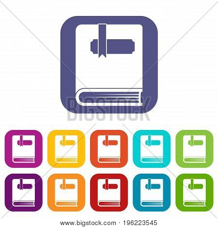 Thick book with bookmark icons set vector illustration in flat style in colors red, blue, green, and other
