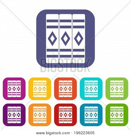 Three literary books icons set vector illustration in flat style in colors red, blue, green, and other