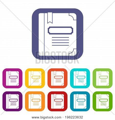 Tutorial with bookmark icons set vector illustration in flat style in colors red, blue, green, and other