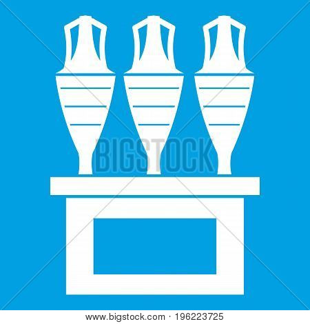 Antique jugs icon white isolated on blue background vector illustration