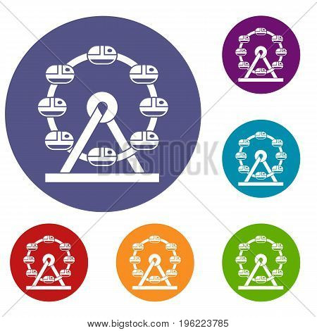 Giant ferris wheel icons set in flat circle red, blue and green color for web