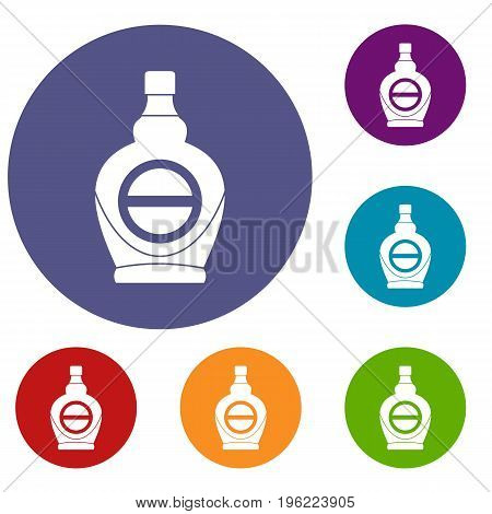 Maple syrup in glass bottle icons set in flat circle red, blue and green color for web