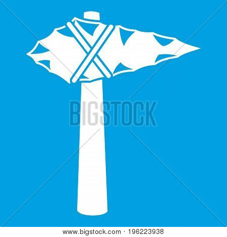 Ancient hammer icon white isolated on blue background vector illustration