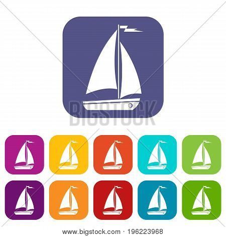 Boat icons set vector illustration in flat style in colors red, blue, green, and other