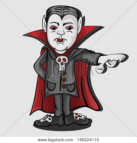 Vector illustration of a vampire in a cloak with an outstretched hand