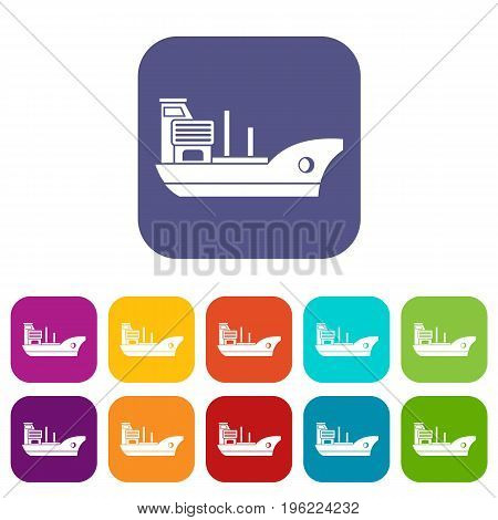 Marine ship icons set vector illustration in flat style in colors red, blue, green, and other