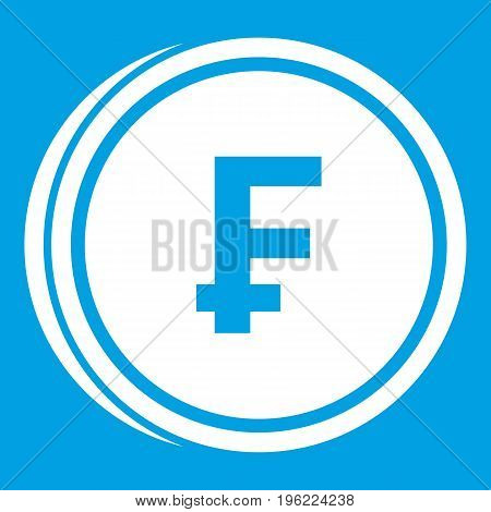 Franc coins icon white isolated on blue background vector illustration