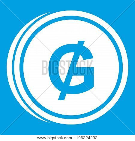 Coin guarani icon white isolated on blue background vector illustration