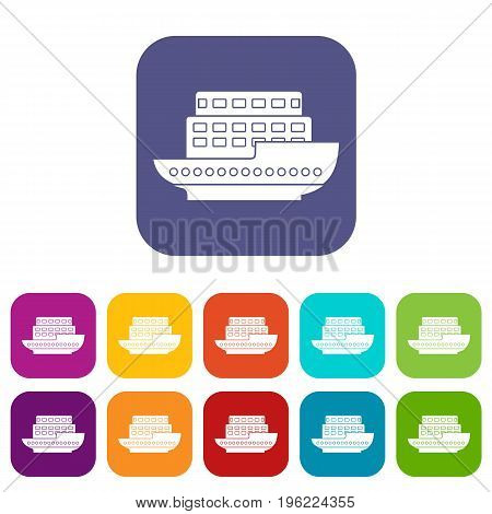 Large passenger ship icons set vector illustration in flat style in colors red, blue, green, and other