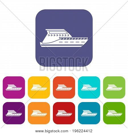 Yacht icons set vector illustration in flat style in colors red, blue, green, and other