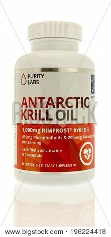 Winneconne WI - 20 July 2017: A bottle of Antarctic krill oil by Purity Labs on an isolated background.