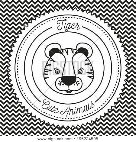 monochrome irregular lines background with silhouette frame decorative and face tiger cute animals text vector illustration