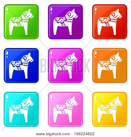 Toy horse icons of 9 color set isolated vector illustration