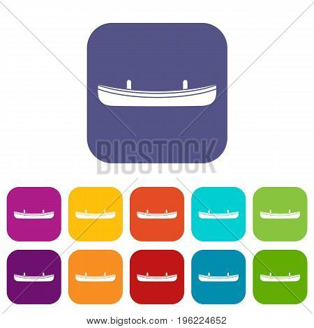 Small boat icons set vector illustration in flat style in colors red, blue, green, and other