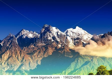 From left - Mount South Kabru (24215 feet) Mount North Kabru and Mount Talung (24200 feet) - beautiful view of great Himalayan mountains at Ravangla Sikkim.