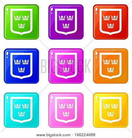 Coat of arms of Sweden icons of 9 color set isolated vector illustration