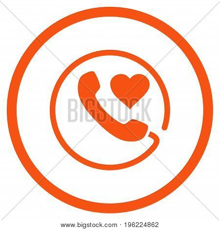 Love Phone rounded icon. Vector illustration style is flat iconic symbol inside circle, orange color, white background.