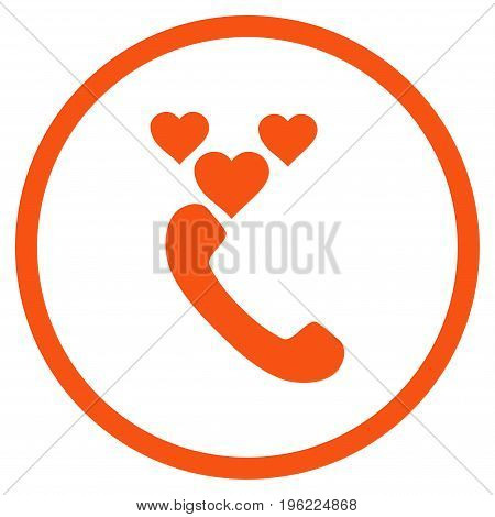 Love Phone Call rounded icon. Vector illustration style is flat iconic symbol inside circle, orange color, white background.