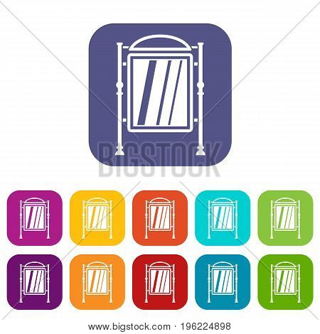 Advertising sign icons set vector illustration in flat style in colors red, blue, green, and other