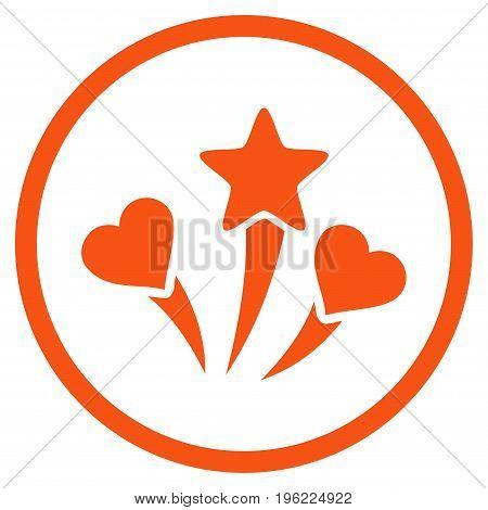 Lovely Fireworks rounded icon. Vector illustration style is flat iconic symbol inside circle, orange color, white background.