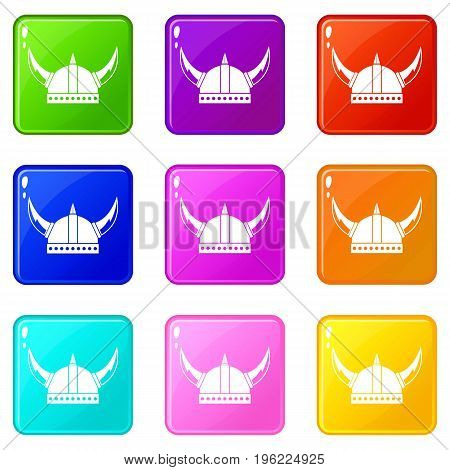 Viking helmet icons of 9 color set isolated vector illustration