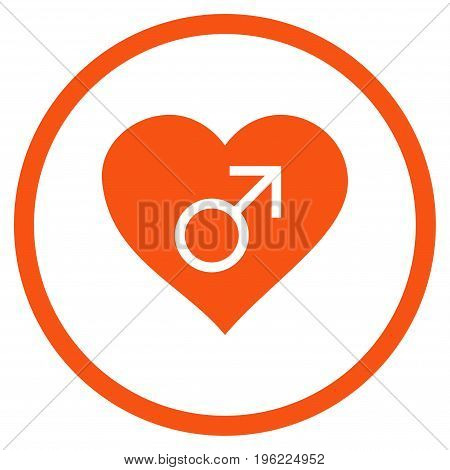 Male Love Heart rounded icon. Vector illustration style is flat iconic symbol inside circle, orange color, white background.