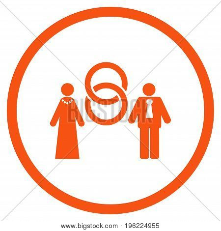 Marriage Persons rounded icon. Vector illustration style is flat iconic symbol inside circle, orange color, white background.