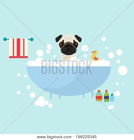 dog take a bath wet grooming with soap shampoo bubbles animal lover vector