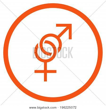 Sex Symbol rounded icon. Vector illustration style is flat iconic symbol inside circle, orange color, white background.