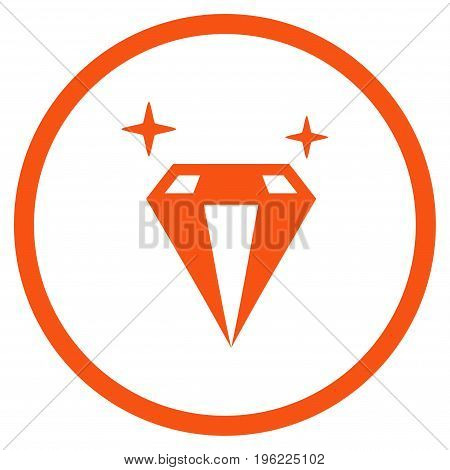 Sparkle Diamond Crystal rounded icon. Vector illustration style is flat iconic symbol inside circle, orange color, white background.