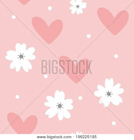 Cute feminine seamless pattern. Cartoon flowers hearts and dots. Pastel colour. Vector illustration.