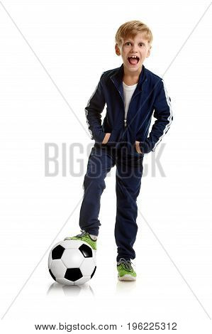 Full photo of happy smiling young football player in sportswear