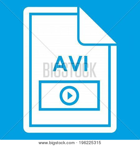 File AVI icon white isolated on blue background vector illustration