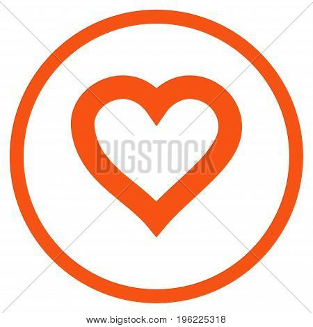 Valentine Heart rounded icon. Vector illustration style is flat iconic symbol inside circle, orange color, white background.