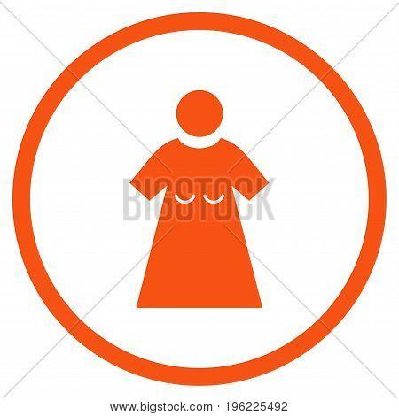 Woman Figure rounded icon. Vector illustration style is flat iconic symbol inside circle, orange color, white background.