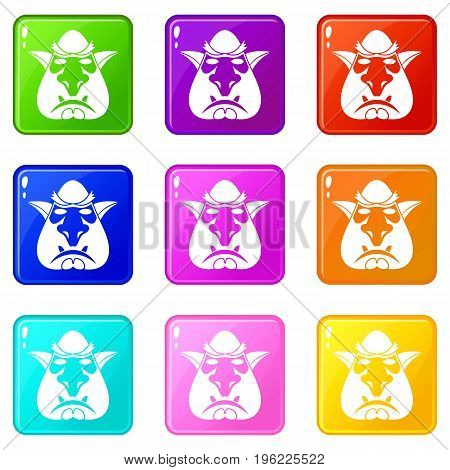 Head of troll icons of 9 color set isolated vector illustration