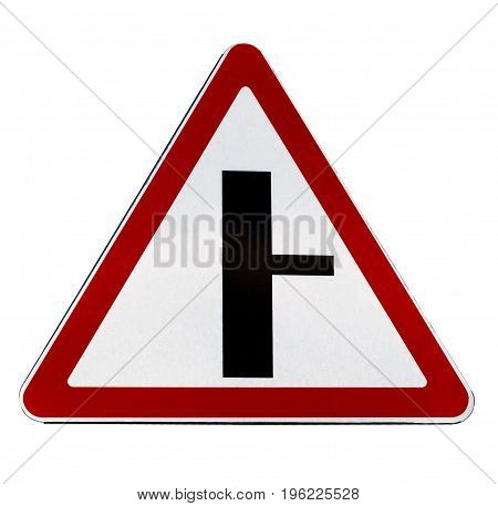Warning road sign t-crossing isolated on white