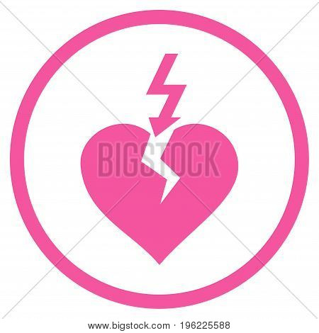 Break Heart rounded icon. Vector illustration style is flat iconic symbol inside circle, pink color, white background.