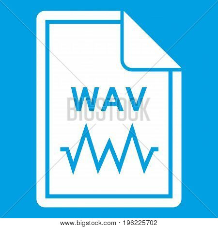 File WAV icon white isolated on blue background vector illustration