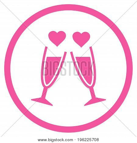 Clink Glasses rounded icon. Vector illustration style is flat iconic symbol inside circle, pink color, white background.