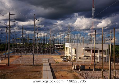 High voltage electricity station with cloud and sky