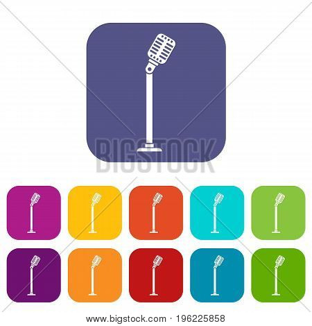 Microphone on stand icons set vector illustration in flat style in colors red, blue, green, and other