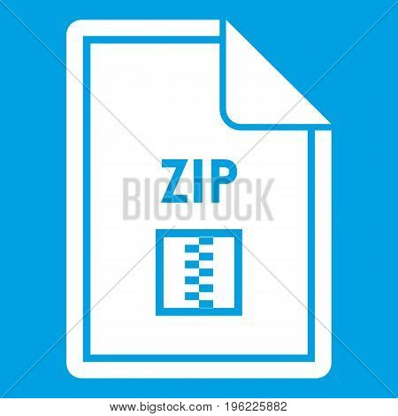 File ZIP icon white isolated on blue background vector illustration